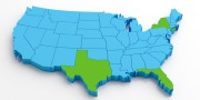 3d blue USA map on isolated background